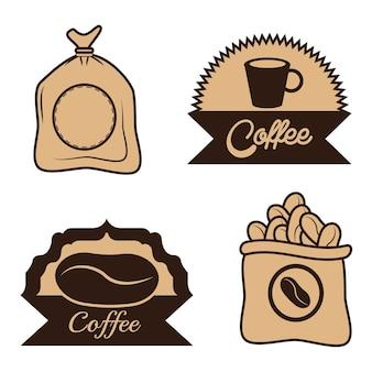 Kaffee label sac bohnen tasse design