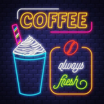 Kaffee-leuchtreklame-vektor. kaffee-leuchtreklame auf backsteinmauerhintergrund