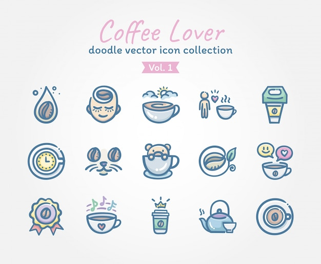 Kaffee-liebhaber-gekritzelvektor-ikonensammlung