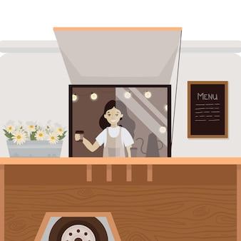 Kaffee-lkw illustration straße trinken bus oldtimer-bus café
