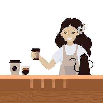 Kaffee-lkw illustration straße trinken bus oldtimer-bus café Premium Vektoren