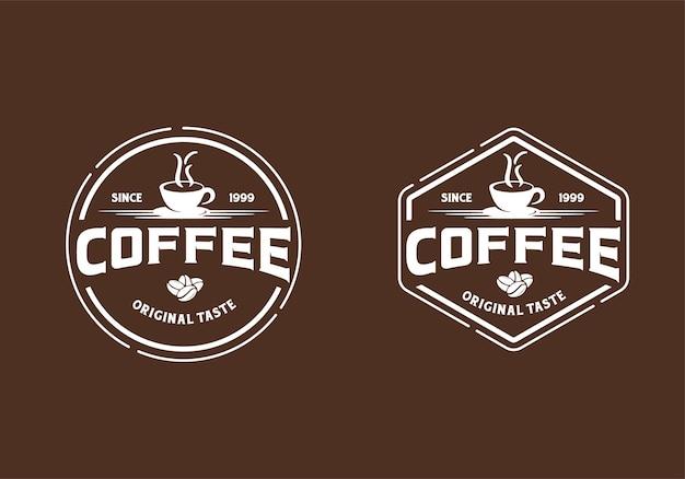 Kaffee-logo im vintage-design. stempel, etikett, abzeichen, logo-design-inspirationsvorlage signieren