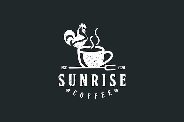 Kaffee-logo mit hühnchen-logo-design