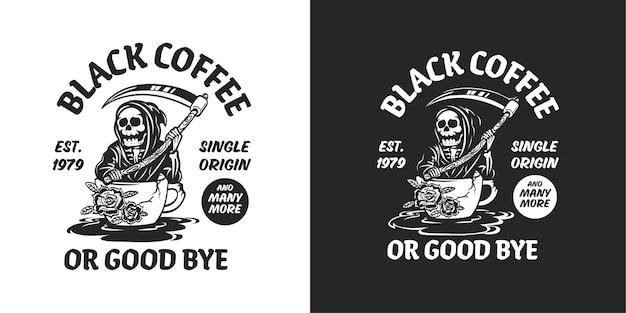 Kaffee-logo mit sensenmann-illustration