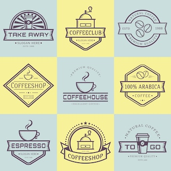Kaffee-logo-sammlung. vorlagen im gliederungsstil. satz retro-etiketten für coffeeshop oder café. isolierte logos auf gelb und blau. illustration.