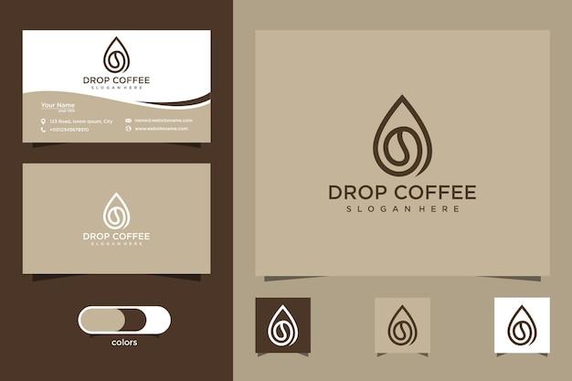 Kaffee-logo und visitenkarte fallen lassen