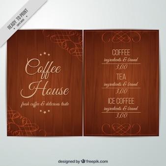 Kaffee-menü mit holz-effekt