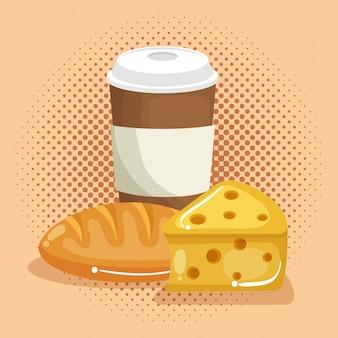 Kaffee mit brot und käse