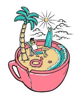 Kaffee mit einer strandansichtillustration