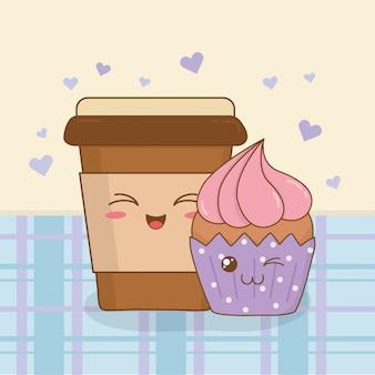Kaffee mit kawaii charakteren des kleinen kuchens