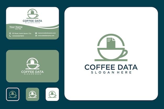 Kaffee mit logodesigndaten und visitenkarte
