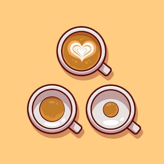 Kaffee mit schaum. flacher cartoon-stil