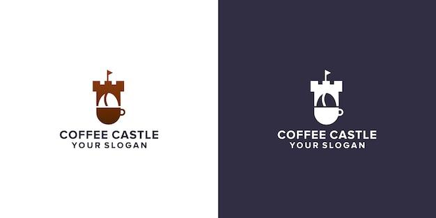 Kaffee mit schloss-logo-design