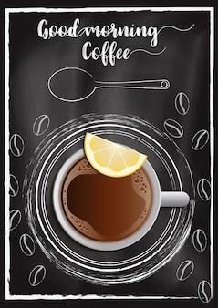 Kaffee mit tafelart des tafelhintergrundes in der hand