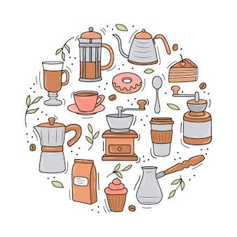 Kaffee mit verschiedenen kaffeemaschinen und desserts.