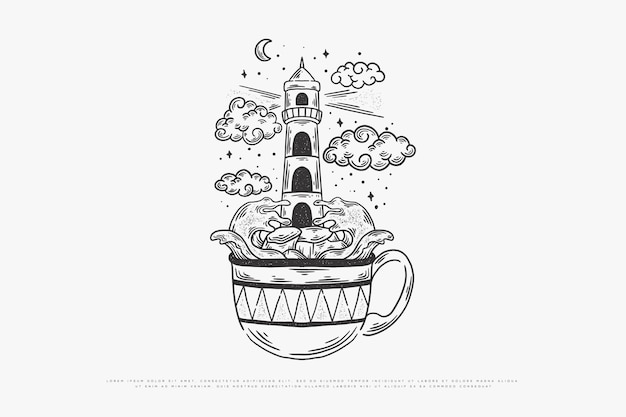 Kaffee monoline illustration
