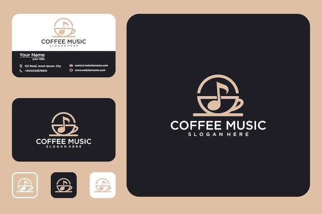 Kaffee-musik-logo-design und visitenkarte