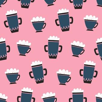 Kaffee-muster-karikaturart des vektors nahtlose