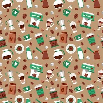 Kaffee nahtlose muster dekorativen hintergrund mit kaffee-lampe türkischen französischen presse vektor-illustration