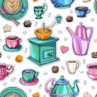 Kaffee nahtloses muster süß