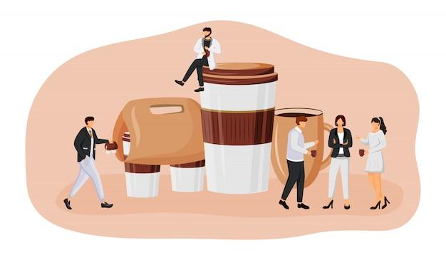 Kaffee nehmen flache konzeptillustration heraus. coffeeshop zum mitnehmen. mitarbeitertreffen zum mittagessen. büroangestellte mit getränken 2d-zeichentrickfiguren für webdesign. tee, um kreative idee zu gehen
