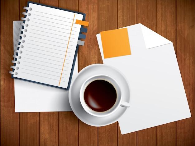 Kaffee, notizbuch und papier auf holztisch