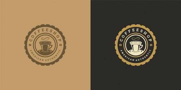 Kaffee oder tee shop logo vorlage mit bohnen silhouette gut