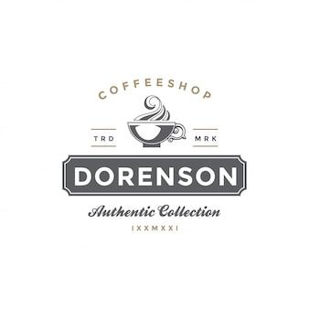 Kaffee- oder teeshop-emblemschablonen-schalenschattenbild