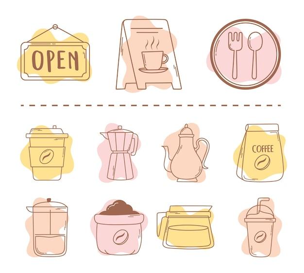 Kaffee restaurant paket moka pot tassen und frappe icon line und füllen illustration