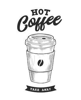 Kaffee retro-emblem. logovorlage mit schwarzen und weißen buchstaben.