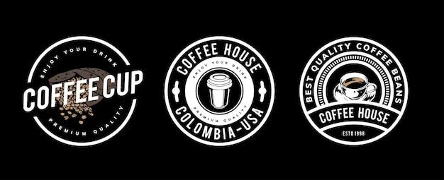 Kaffee-schablonenentwurf für logo, abzeichen