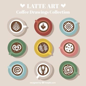 Kaffee-set mit verschiedenen zeichnungen