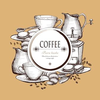 Kaffee-set vintage-stil zusammensetzung poster