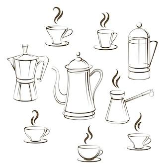 Kaffee skizzensammlung