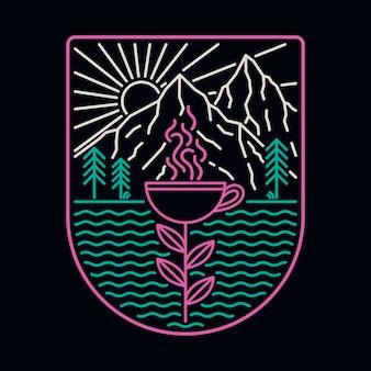 Kaffee strand meer natur wildes abzeichen neon illustration t-shirt