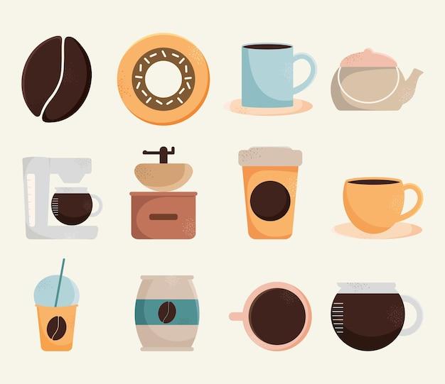 Kaffee-symbol auf weißem hintergrund