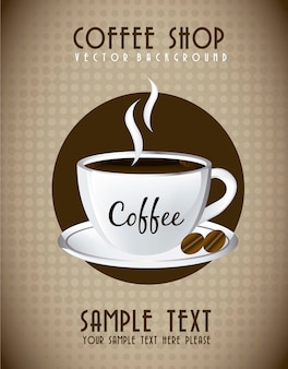 Kaffee tasse über ankündigung vintage-stil vektor-illustration