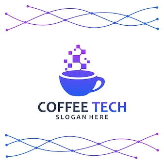 Kaffee-technologie, tasse, logo-design-inspiration