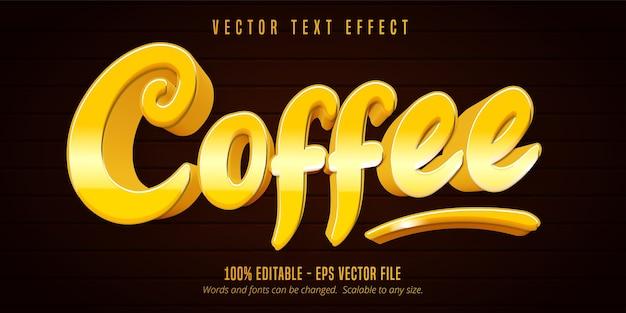 Kaffee-text, bearbeitbarer texteffekt im cartoon-stil