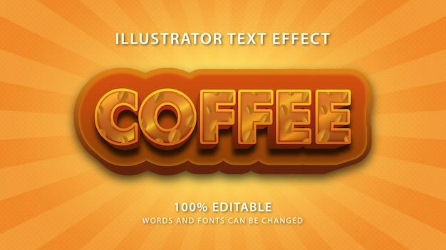 Kaffee-text-stileffekt, bearbeitbarer text Premium Vektoren