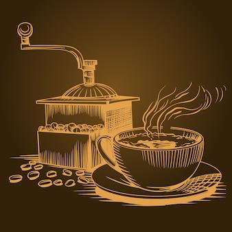 Kaffee thema, skizzieren sie bilder.