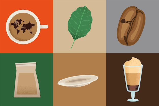 Kaffee trinken sechs symbole
