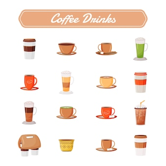 Kaffee trinkt flache farbgegenstände gesetzt. cappuccino im keramikbecher. latte aus dem kaffeehaus nehmen. espresso und americano. koffeingetränk 2d isolierte karikaturillustrationen auf weißem hintergrund