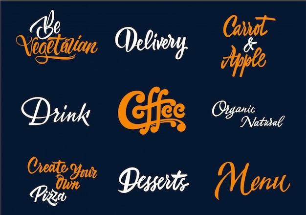 Kaffee-typografie-sammlung