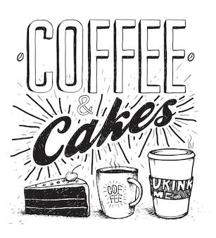 Kaffee- u. kuchenstift hand gezeichnete typografiebeschriftung und illustrationssatz. kuchen, kaffee, bild der heißen schokolade