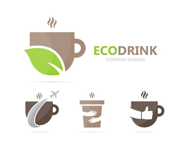 Kaffee- und blattlogokombination.