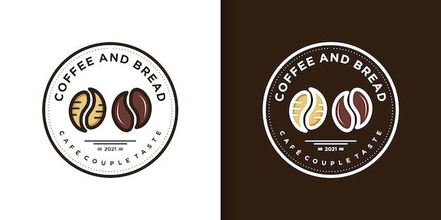 Kaffee- und brotlogo mit kreativem stil premium-vektor