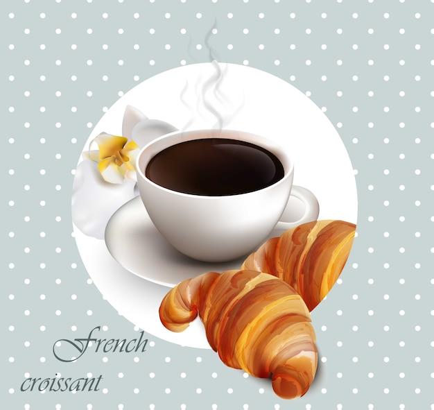 Kaffee und croissant vektor-karte. frühstück im französischen stil