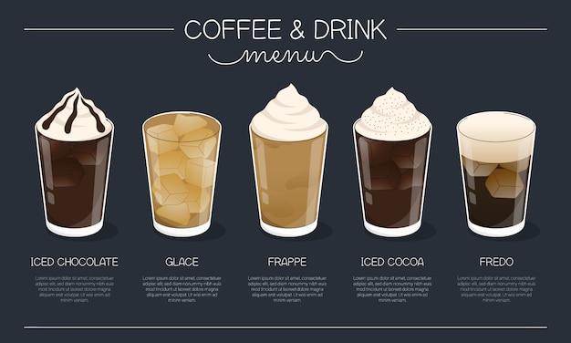 Kaffee- und getränkemenüillustration mit verschiedenen eiskaffee- und getränketypen auf marineblauhintergrund