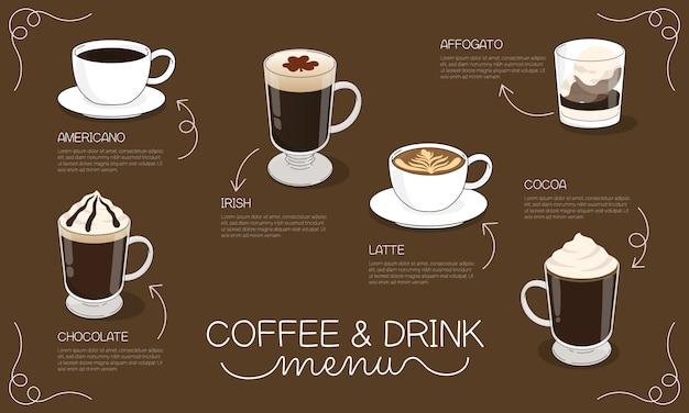 Kaffee- und getränkemenüillustration mit verschiedenen heißen kaffee- und getränkearten